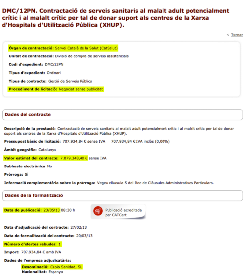 Capio Adjudicacion Contrato CatSalut DMC/12PN Mayo 2013