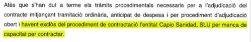 Capio adjudicacion contrato Generalitat Catalunya