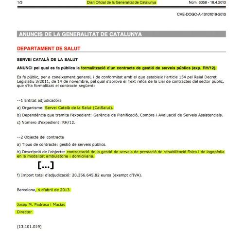Formalizacion contrato RH12 DOGC